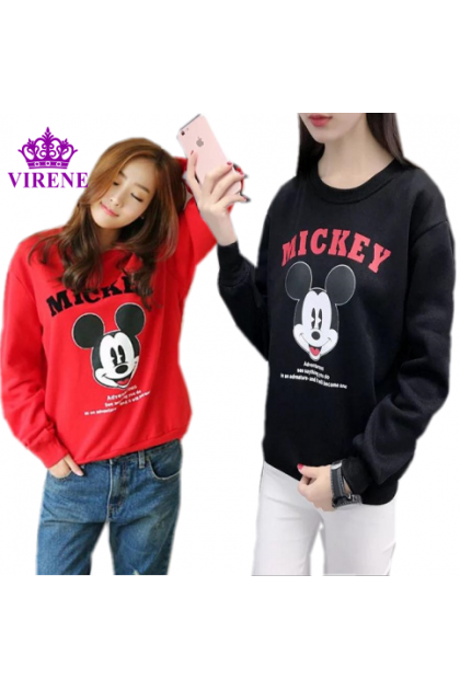 Korean Fashion Mickey Printing Long Sleeve Shirt Lovely Cute Sweater Casual Style Blouse Ready Stock 311880