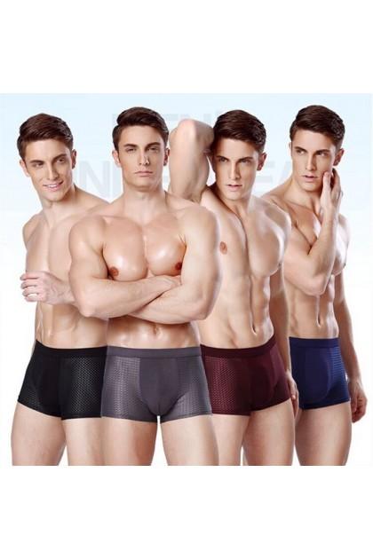 VIRENE【4pcs Perpack】Men Breathable Bamboo Fiber Cotton Underwear Man Boxer Brief Seluar Dalam Lelaki Premium Quality Ready Stock 161140