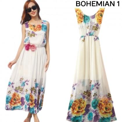 VIRENE Casual Bohemian Dress Women Long Dress Chiffon Fabric Soft & Comfy Beach Dress Ladies Breathable Shift Dress Ready Stock 329988