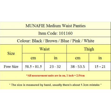 MUNAFIE 100% Original Women Panties Japan 5 Colors Women Medium Waist Panties Underwear Seluar Dalam Wanita Ready Stock 101160