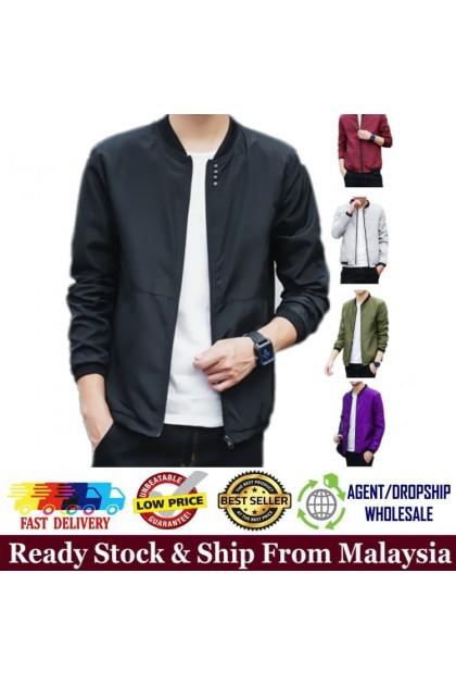 Men Bomber Jacket Korean Style Casual Men Slim Fit Bomber Jacket Plain Design Sportswear Ready Stock 531180