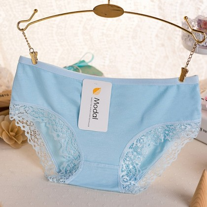 Size XL Candy Color Bamboo Fiber Ladies Panty Women Underwear Low Waist Panties Ready Stock 女士低腰底裤 内裤 021164