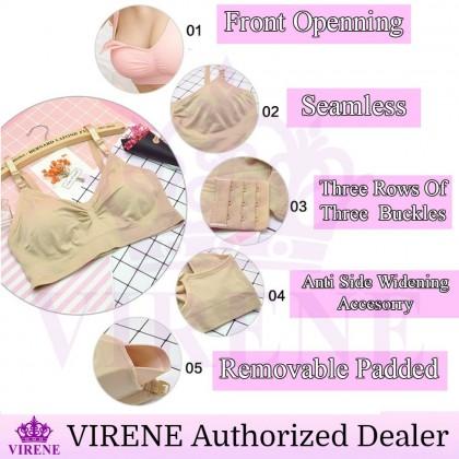 VIRENE Maternity Breastfeeding Bra Front Open Type Nursing Bra Wireless Super Soft Bra Menyusu Ready Stock 311180