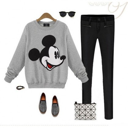 READY STOCK Korean Fashion Mickey Mouse Long Sleeve Blouse / Sweater - 311780
