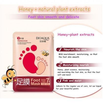 Foot Mask 【100% Original BIOAQUA】 Honey Whitening Moisture Foot Mask Dead Skin Remover Foot Care Ready Stock 8955BA