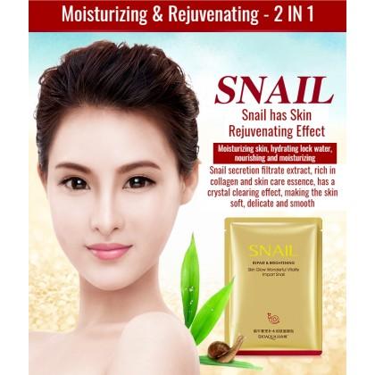 Bioaqua Natural Snail Essence Mask【100% Original】Whitening / Moisturizing / Nourishing Sheet Mask Skin Repair Brightening Soothing Anti-Aging Face Mask Ready Stock 7994BA