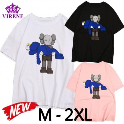 VIRENE KAWS T-Shirt Women Men Shirt Sesame Street Short Sleeve Clothes Unisex Fashion Man Women T-Shirt 【M - 2XL】Ready Stock 115516