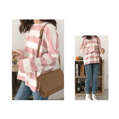 VIRENE Korean Fashion Plus Size Striped Shirt Fashion Casual Loose Tops Long Sleeve T-shirt Baju Lengan Panjang Pemborong Baju 221104