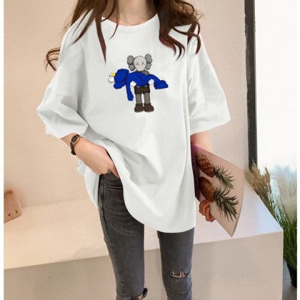 Plus Size KAWS T-Shirt READY STOCK Korean Women Casual Loose Tops Baju Corak Kaws Pemborong Baju KAWS 211662