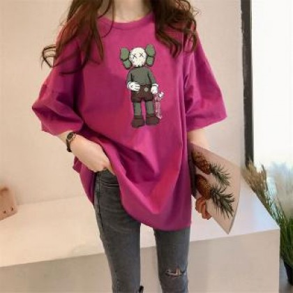 Plus Size KAWS T-Shirt READY STOCK Korean Women Casual Loose Tops Baju Corak Kaws Pemborong Baju KAWS 211664