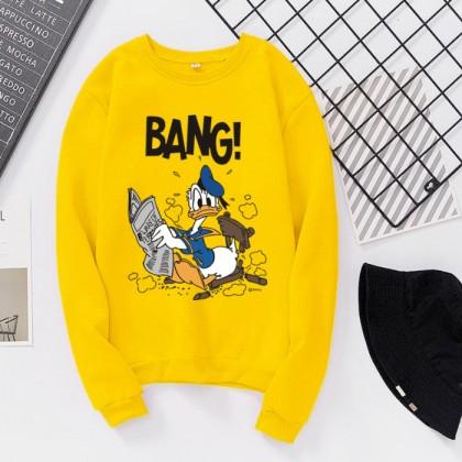 Donald Duck Sweater READY STOCK Plus size Long Sleeve Sweatshirts Hoodies Pemborong Baju Lengan Panjang 321172