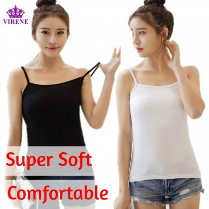 VIRENE Super Soft Cotton Singlet READY STOCK Free Size Stretch Singlet Local Wholesale 现背心 女内搭 批发 301135