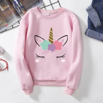 Unicorn Sweater READY STOCK Plus Size Sweatshirts Long Sleeve Sweater Hoodies Pemborong Baju 961017
