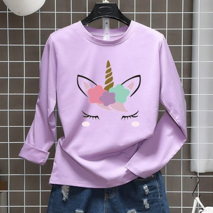 Unicorn Women Shirt Casual Long Sleeve Blouse Lovely Cute Top M - 2XL Ready Stock 211187