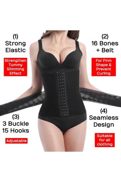 VIRENE PLUS SIZE Diamond Ala Sajat 16 Tulang Bengkung With Belt Super Slim Body Shaper Waist Girdle Ready Stock 430020