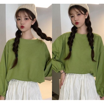 Women Long Sleeve Shirt Plus Size Loose Blouse Casual T-Shirt Basic Plain Shirt Wild Top Ready Stock 219966