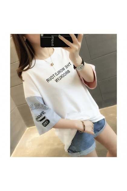 Women T-Shirt Different Color Sleeve Blouse Loose Top Basic Tee Casual Shirt Ready Stock 210076