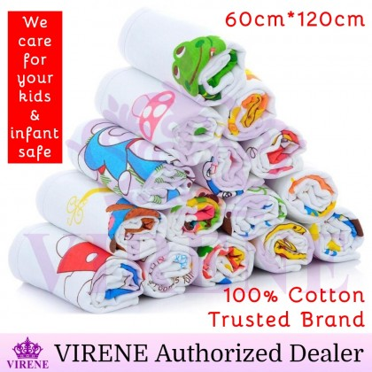 VIRENE Baby Bath Towel 100% Cotton Infant Kids Towel Blanket (60cm*120cm) Honeycomb Good Absorbent Tuala Kanak Ready Stock 110017