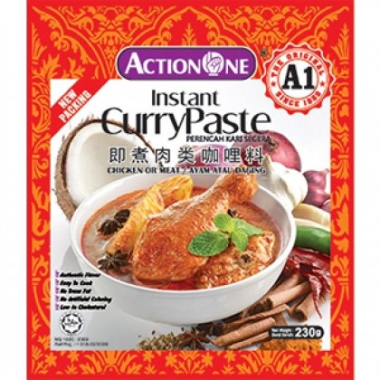 A1 Action One Instant Curry Paste (For Chicken/Meat) Perencah Kari Segera 230g HALAL Ready Stock 9555140300011