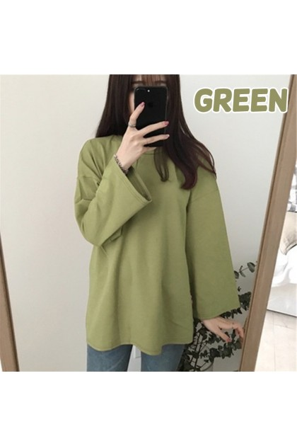 VIRENE Korean Fashion Women Blouse Long Sleeve Shirt Casual Plain Tee Autumn Loose Top Ready Stock 210064