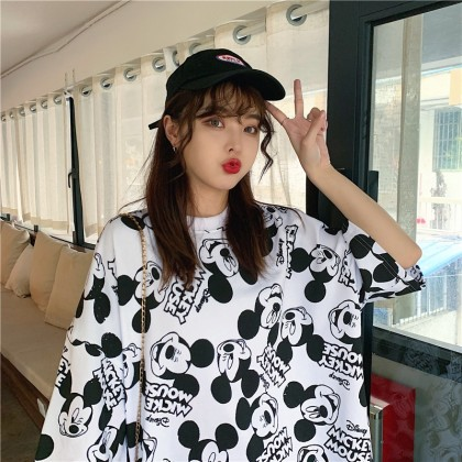 Mickey T-Shirt Korean Fashion Women Blouse Mickey Shirt Loose Basic Tee Lovely Cute Top Ready Stock 120040