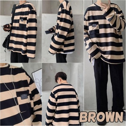 VIRENE Korean Fashion Plus Size Women Blouse Men Striped Shirt Casual Loose Tops Long Sleeve T-shirt Baju Lengan Panjang Pemborong Baju 210065