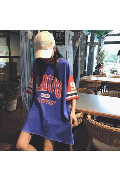 Korean Fashion Loose Basketball Shirt Jersey Mid-length Student Sports Half Sleeved Basketball Clothes T-Shirt 310090