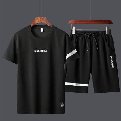 Men Sportswear T-Shirt + Short Pants Set Sports Shirt & Pants Set Men Fitness Clothing Baju Lelaki Ready Stock 320022