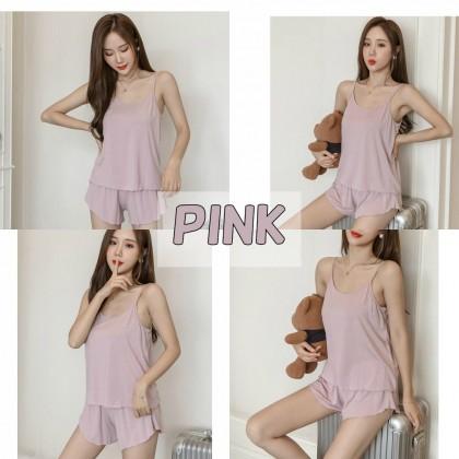 1 Set Women's Pyjamas Solid Color Modal Cotton Sleepwear Camisole + Shorts Sleepwear Set Baju Tidur Borong Ready Stock 现货 睡衣 套装 210040