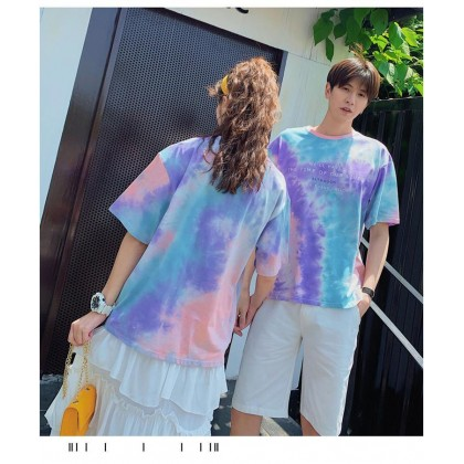 Couple Shirt Korean Fashion Sky Cloud Printing Shirt Short sleeve Shirt Round Neck Casual Style T-shirt Ready Stock 323300