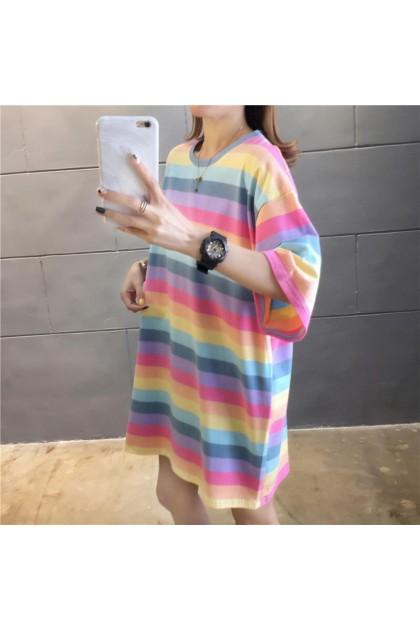 Korean Fashion Rainbow Short Sleeve T-Shirt Women Loose Large Size Blouse Baju Murah Clothes Casual Ready Stock 213363