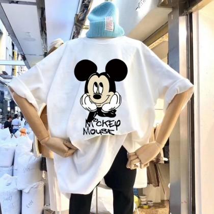 Women's Blouse Summer Mickey Short Sleeve Baju Murah T Shirt Korean Fashion Clothing Round Neck Students 213324