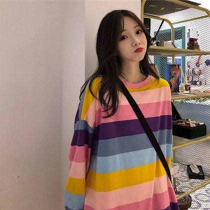 Korean Fashion Rainbow Sweater Striped Long Sleeve Shirt Women's Top Long Sleeve Loose Casual Ready Stock 310070