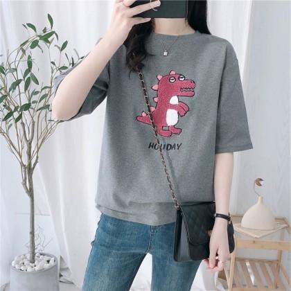 Korean Fashion Dinosaur Shirt Lady Blouse Loose Short Sleeve Baju T-Shirt Women Cartoon Top Casual Ready Stock 213367