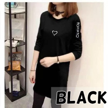 Korean Fashion Love Design Long Sleeve Shirt Medium Length Shirt Women Top Blouse Student Blouse Baju Murah Ready Stock 213366