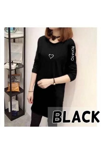 Korean Fashion Love Design Long Sleeve Shirt Medium Length Shirt Women Top Blouse Student Blouse Baju Murah Ready Stock 213366