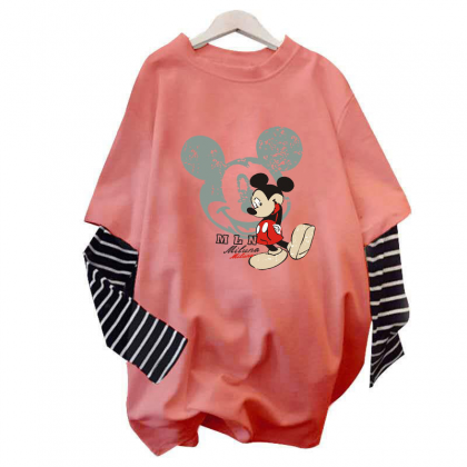 Plus Size Mickey Shirt Long Sleeve Korean Fashion Women Blouse Oversize Tee Casual Cute Top Viral Baju Murah Ready Stock 231106