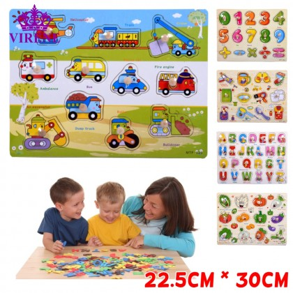 Wooden Educational Hand Grip Child Jigsaw Puzzle Kids & Baby Early Learning Knob Puzzle Toys (22.5cm*30cm) Ready Stock 001169