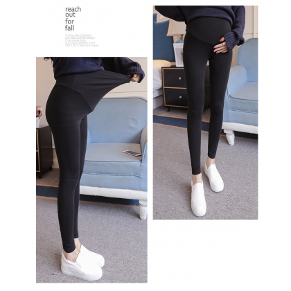 Elastic Maternity Legging Cotton Plain Pregnancy Long Pants Soft High Waist Adjustable Stomach Support Pants Ready Stock 219976