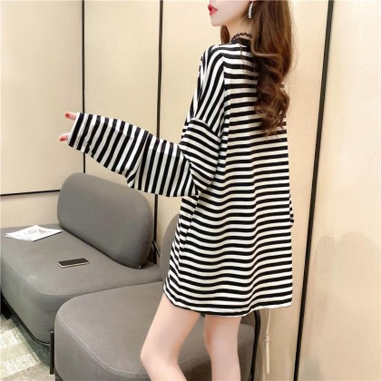Korean Fashion Women Stripe Shirt Long Sleeve Top Shirt Baju Belang Viral Lengan Panjang Perempuan 条纹长袖上衣 Ready Stock 211175