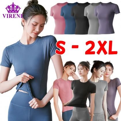 VIRENE Women Yoga Shirt Fitness Sports Slim Clothes Mesh Sportswear Gym Tops T-Shirt for Ladies Quick Dry Short Sleeve Zumba Shirt 瑜伽上衣 Ready Stock 322001