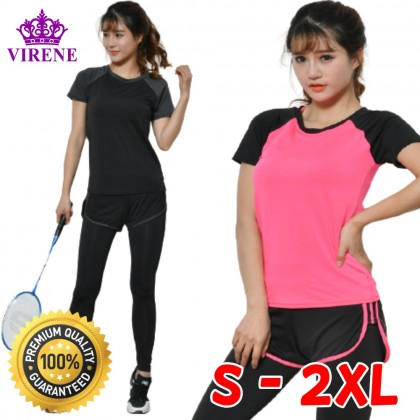 VIRENE Women Yoga Sportswear 2 Pcs Suit (T-shirt & Legging) Sport Sets Jogging Gym Fitness Zumba Suit Ready Stock 603401