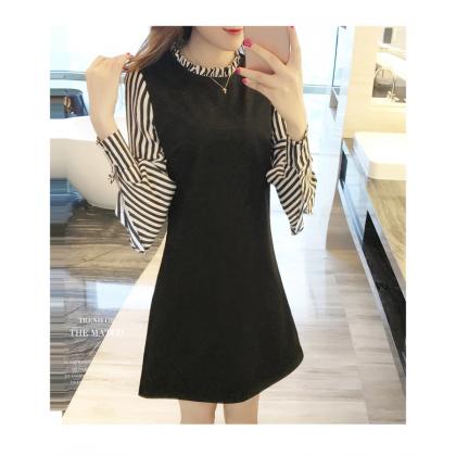 Virene Women Slim Midi Dress Korean Fashion Long Sleeve OL Dress Stylish Stripe Office Wear Apparel Ready Stock 301701