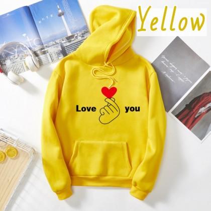 VIRENE Fingerlove Hoodies Women & Men Hoodie Long Sleeve Sweater Thick Shirt Casual Loose Outerwear Jacket Couple Wear Baju Viral Ready Stock 302011
