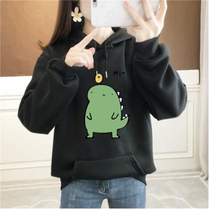 VIRENE Little Dinosaur Women Hoodies Plus Size Hooded Shirt Casual Hoodie Sweatshirt Loose Outerwear Jacket Couple Wear Baju Viral Ready Stock 302000