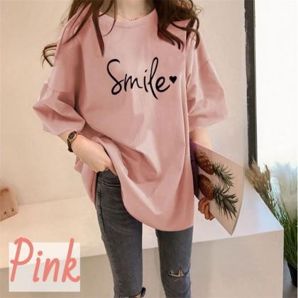 VIRENE Korean Fashion Women T-Shirt Woman Blouse Smile Printing Top Casual Shirt Loose Cloth Baju Viral Murah Ready Stock 206311