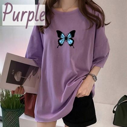 VIRENE Korean Fashion Women T-Shirt Woman Blouse Butterfly Printing Top Casual Shirt Loose Cloth Baju Viral Murah Ready Stock 206322