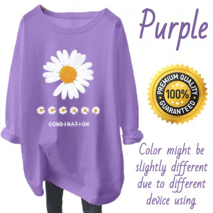 VIRENE Korean Fashion Women Shirt Woman Long Sleeve Blouse Daisy Printing Casual Top Basic Outfit Apparel Ready Stock 220711