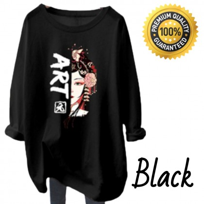 VIRENE Women Shirt Woman Long Sleeve Blouse Chinese Art Printing Casual Top Basic Outfit Apparel Ready Stock 220722