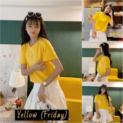 VIRENE Korean Fashion Women T-Shirt Casual Woman Blouse Candy Color 1 Week Shirt Short Sleeve Female Top Basic Tee Baju Viral Murah Ready Stock 241600